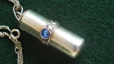 Lovely Sterling Silver Star & Moon Pill Box Pendant on Fine Silver Chain