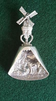 Dutch Sterling Silver Figural Windmill and Cattle Scene Tea Caddy Spoon