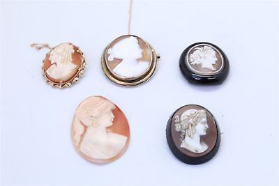 5 xTRUE VINTAGE / ANTIQUE CAMEO BROOCHES & panels INC JET