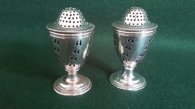 Pr Very Unusual H/M Sterling Silver Salt & Pepper Shakers w Blue Glass Liners