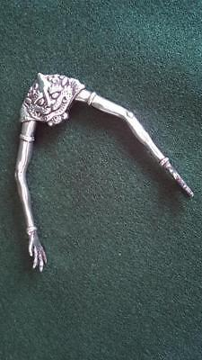 Amazing Circa 1930 Art Deco Figural Sterling Silver Shell Fish Serving Tongs