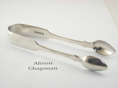 "Silver sugar tongs London 1834 William IV monogrammed ""MC"" Made by Ann Payne"