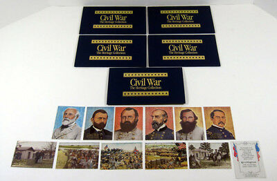 Lot of (5) 1992 Bon Air Civil War Heritage Series 2 Trading Card Set (12) Nm/Mt