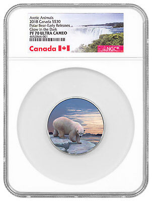 2018 Canada Arctic Northern Lights Polar Bear 2 oz Silver Glow NGC PF70 SKU52287