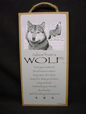 ADVICE FROM A WOLF wood INSPIRATIONAL SIGN wall NOVELTY PLAQUE animal wolves NEW