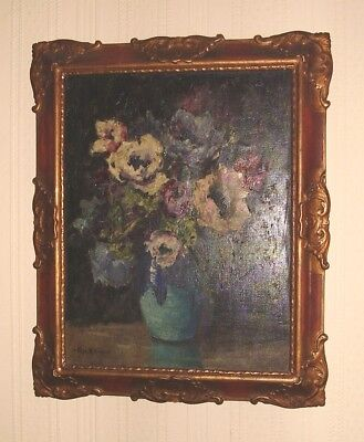 ANTIQUE OIL PAINTING ON CANVAS STUNNING STILL LIFE FLOWERS by EDITH DAWSON