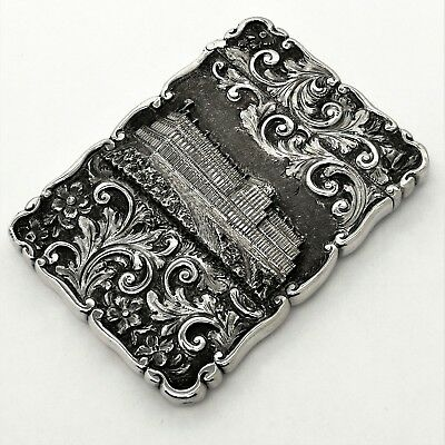Antique Victorian Sterling Silver Castle Topped Card Case 1850 Crystal Palace