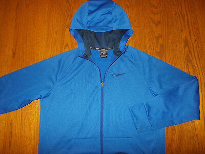 Nike Dri-Fit Full Zip Blue Hooded Sweatshirt Jacket Boys Xl Excellent Condition