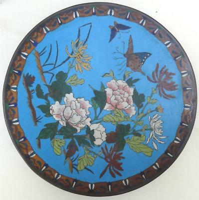 Vintage Chinese Japanese Cloisonne Plate - Flowers & Butterfly Decoration