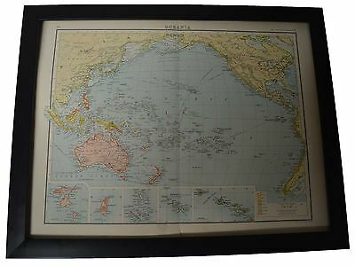 Framed Map Oceania 1890's