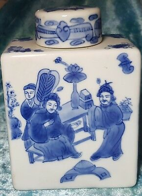 Vintage Chinese Republic Porcelain Hand Painted Tea Caddy / Cannister .nr