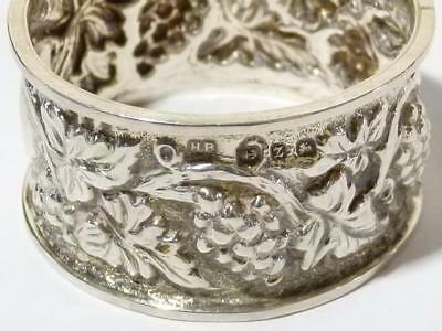 Beautiful Solid Silver Napkin Ring 1899 with Repousse Pattern - CG Initials