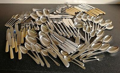 Vintage antique cutlery joblot - mainly silver plated inc. sets - 98 pieces