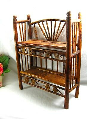 Antique Edwardian Small Bamboo Shelving Bookcase Etc Unit For Desktop Great Look