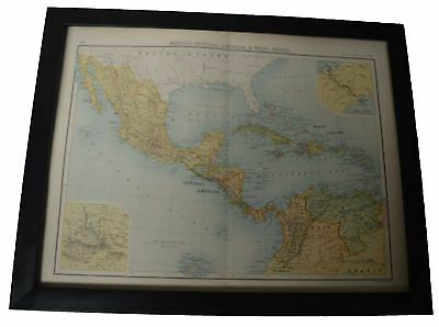 Framed Map Mexico , Central America & West Indies 1890's