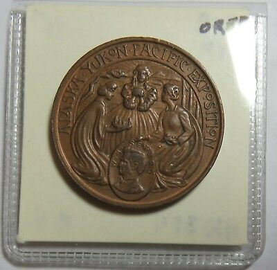 1909 Alaska Yukon Pacific Exposition City Of Seattle Copper Medal