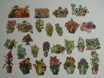 Victorian Chromo Die Cut Relief Scraps. Job lot 27 Flowers in Pots for Decoupage