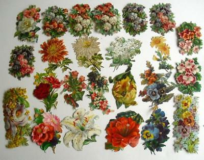 Victorian Chromo Die Cut Relief Scraps. Job lot 24 Large Flowers for Decoupage