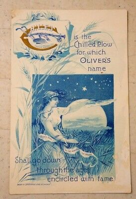 Scarce Antique Trade Card Oliver Chilled Plows Snober & Carqueville Litho Ill.
