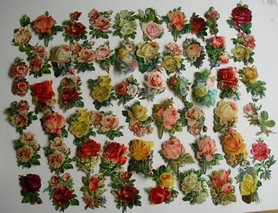 Victorian Chromo Die Cut Relief Scraps. Job lot 56 Medium Roses for Decoupage