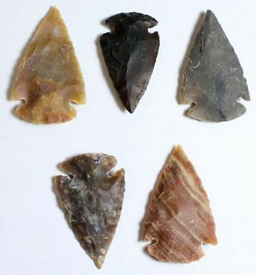 Collection Of 5 Stone Arrowhead Points... High Quality