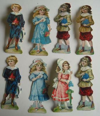"8 Large 6.5"" high Victorian Chromo Die Cut Relief Scraps of Children Decoupage"