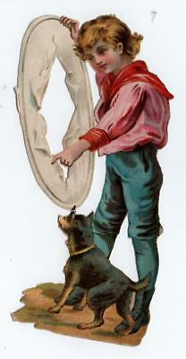 "Large 6.75"" high Victorian Chromo Die Cut Relief Scrap. Boy with Dog & Hoop"