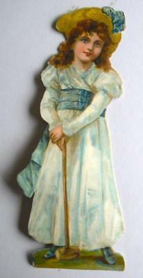 "Gigantic 9.5"" high Victorian Chromo Die Cut Relief Scrap. Girl & Croquet Mallet"