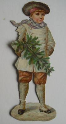 "10"" high Victorian Chromo Die Cut Relief Scrap. Child & Xmas Tree. (Imperfect)"