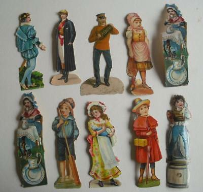 "10 4 to 5"" high Victorian Chromo Die Cut Relief Scraps of People for Decoupage"