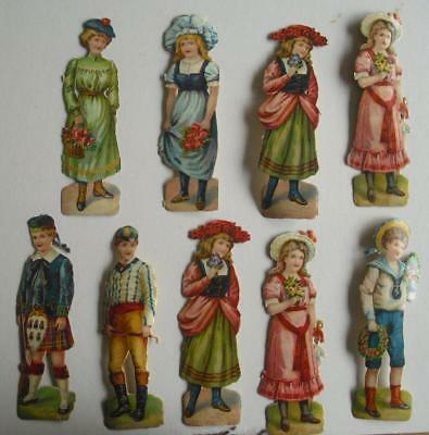 "9 4.5"" high Victorian Chromo Die Cut Relief Scraps of Children"