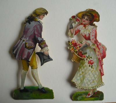 "2 large 6.5"" high Victorian Chromo Die Cut Relief Scraps. Man & Woman"