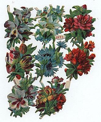 Victorian Chromo Die Cut Relief Scrap Sheet No. 1824. Flowers 8 of 9