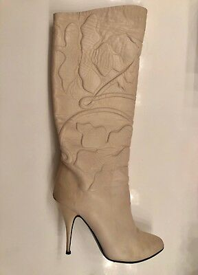 VINTAGE-SUGAR STILETTO BOOTS w POINTY TOE-SIZE 5.5-BEAUTIFUL-ITALY-NUDE