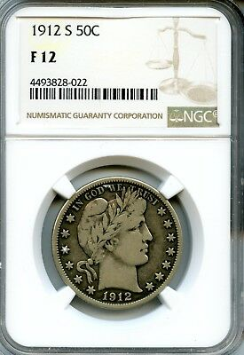 Outstanding 1912-S NGC F 12 Silver Half Dollar 50C Coin RN979