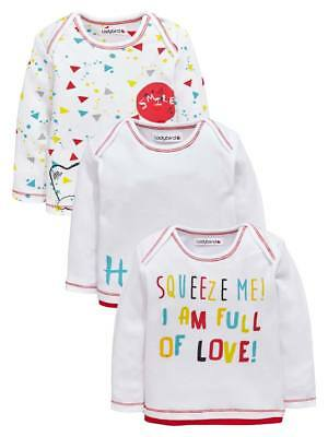 Ladybird Pack Of Three Bear And Slogan Tops In White Size Tiny