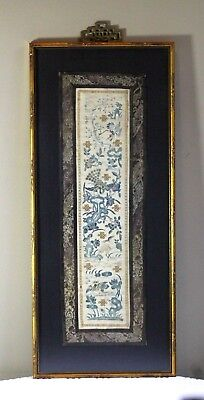 Antique 19thC Chinese Silk Embroidered Exotic Birds & Flowers Textile Panel