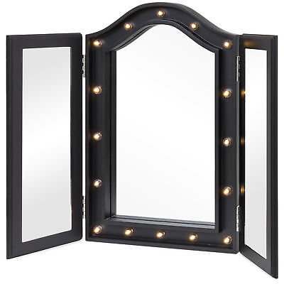 BCP Lighted Tabletop Tri-Fold Vanity Mirror w/ LED Lights