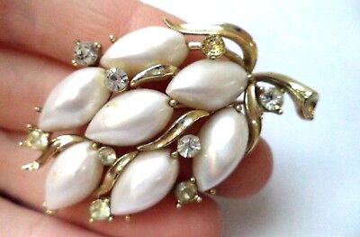 "Stunning Vintage Estate Signed Lisner Thermoset Rhinestone 2 1/4"" Brooch!! 8620Q"