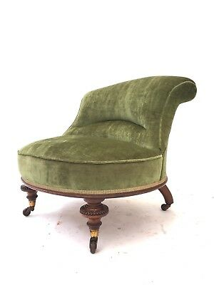 Antique Victorian Mahogany Parlour Chair Rustic Library Salon Estate Love Seat