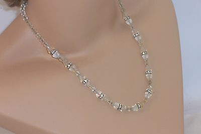 Vintage Art Deco Cone Shaped Faceted Glass Bead Necklace Rhinestone Spacers