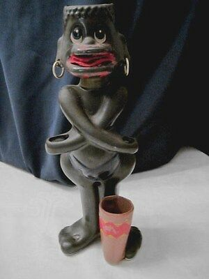 Black Pygmy Guy Vintage Painted Tongue With Felt Fabric - Very Heavy Ooak