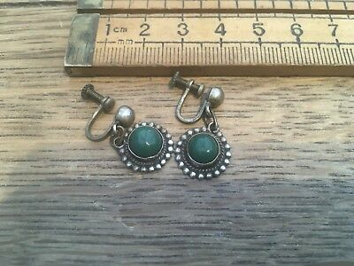 Nice Pair Of Vintage Silver 925 Earrings, Polished Malachite Stone, Screw Backs