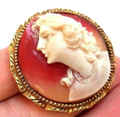 "Stunning Vintage Estate High Relief Cameo Gold Tone 1 1/2"" Brooch!!! G6732J"