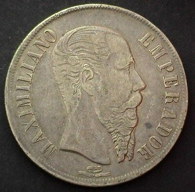 Mexico 1866-Mo Silver Peso   Nearly Extremely Fine