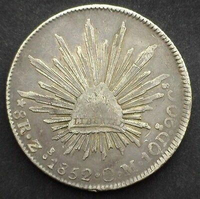 Mexico 1852-Zsom Silver 8 Reales  Extremely Fine