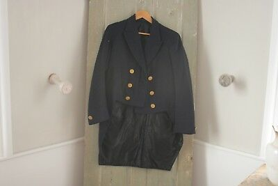Blue wool Antique French coat  1800s Mens Tail Coat Tails gold buttons 19th