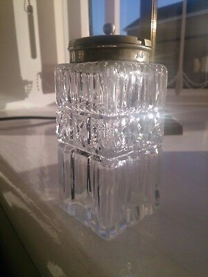 Antique Cut Crystal Mustard Pot  with EPNS Silver Plate Hinged Lid
