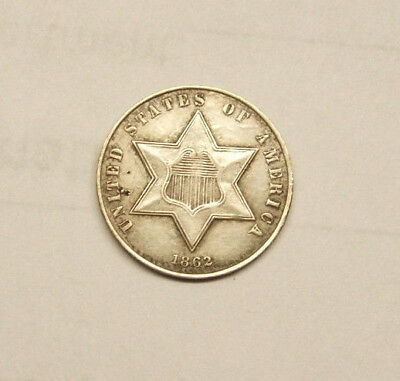 Very Nice Rare 1862 - 3 Cent Silver - Only Minted 343,550
