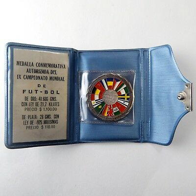 1970 Mexico Silver World Cup Commemorative Colorized Medal .925 Fine A4587